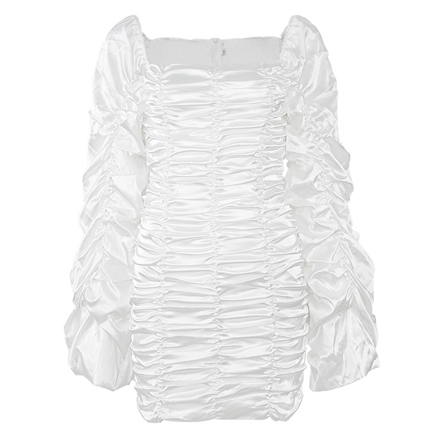 Curve Enhancing White Silk Ruched Mini Dress Kyliejenner Extended Ruched Sleeves Dress with Wrist Slit Opening 3