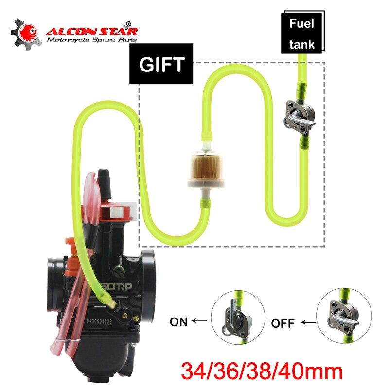 Alconstar-air Striker carburateur moto carbu avec interrupteur huile + tuyau de carburant + filtres à huile + 4 Clips 34 36 38 40mm pour Honda CB