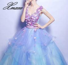 Vestido largo con cuello en V profundo de flores azules Xnxee para mujer novia XXS-3XL