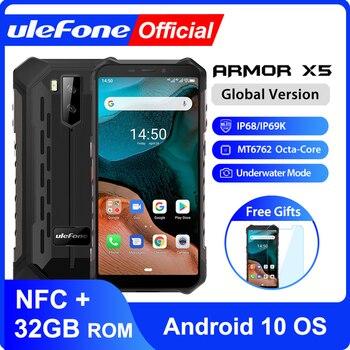 Ulefone Armor X5 Android 10 Smartphone étanche robuste IP68 MT6762 téléphone portable 3GB 32GB Octa core NFC 4G LTE téléphone portable 1