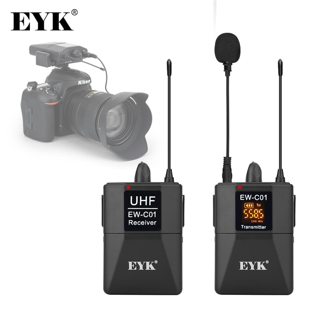 EYK 30 canaux DSLR appareil photo téléphone UHF sans fil double Lavalier Microphone système jusqu'à 60m pour Youtube vidéo enregistrement Interview