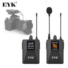 Eyk 30 canais dslr câmera telefone uhf sem fio duplo sistema de microfone de até 60m para youtube vídeo gravação entrevista