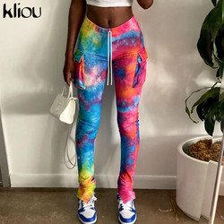 Kliou Tie Dye Print Drawstring Side Pockets Stacked Pants Women Bottom Ribbed Knitted Colorful Stretchy Autumn Casual Streetwear