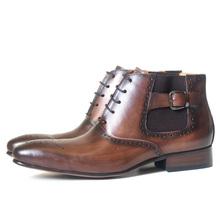 Mężczyźni ubierają skórzane podstawowe buty czarny kolor kawy Delux pasek z klamrą Zip kostki męskie szpiczasty nosek casual kostki sukienka Oxford buty tanie tanio DANIEL VIREA Prawdziwej skóry Skóra bydlęca ANKLE Ręcznie malowane Dla dorosłych Bonded leather RUBBER Wiosna jesień