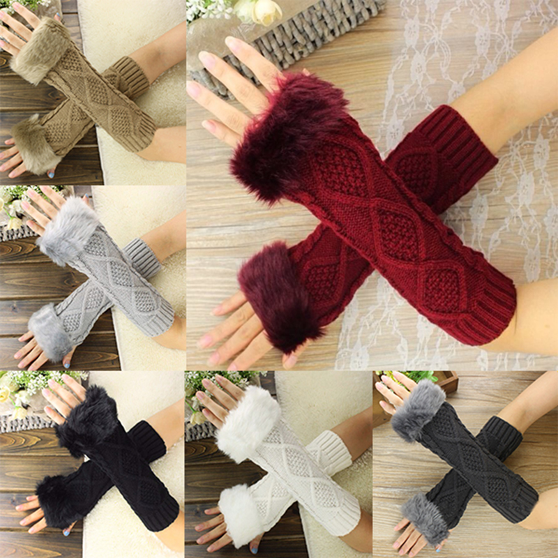 Autumn Winter Women Cute Warm Knitted Arm Fingerless Long Gloves Female Faux Fur Soft Stretchy Mittens Arm Warm Gloves