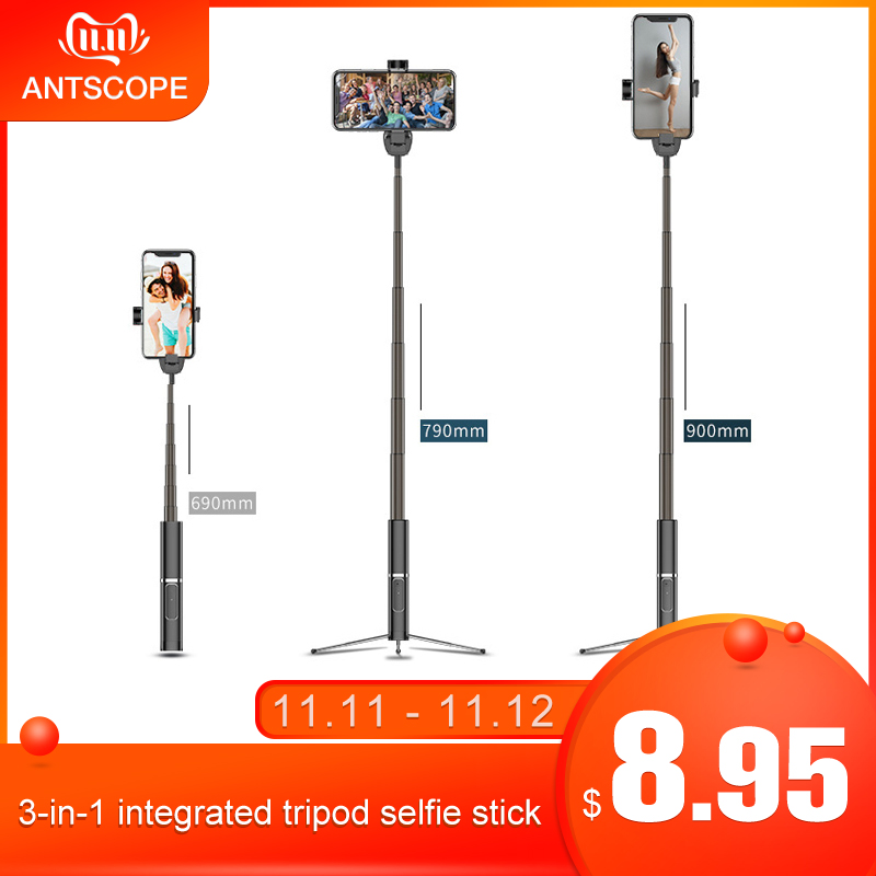 Antscope 3 In 1 Portable Integrated Tripod Selfie Stick Phone Bracket Wireless Bluetooth Button Phone Self-timer Lever Holder 28