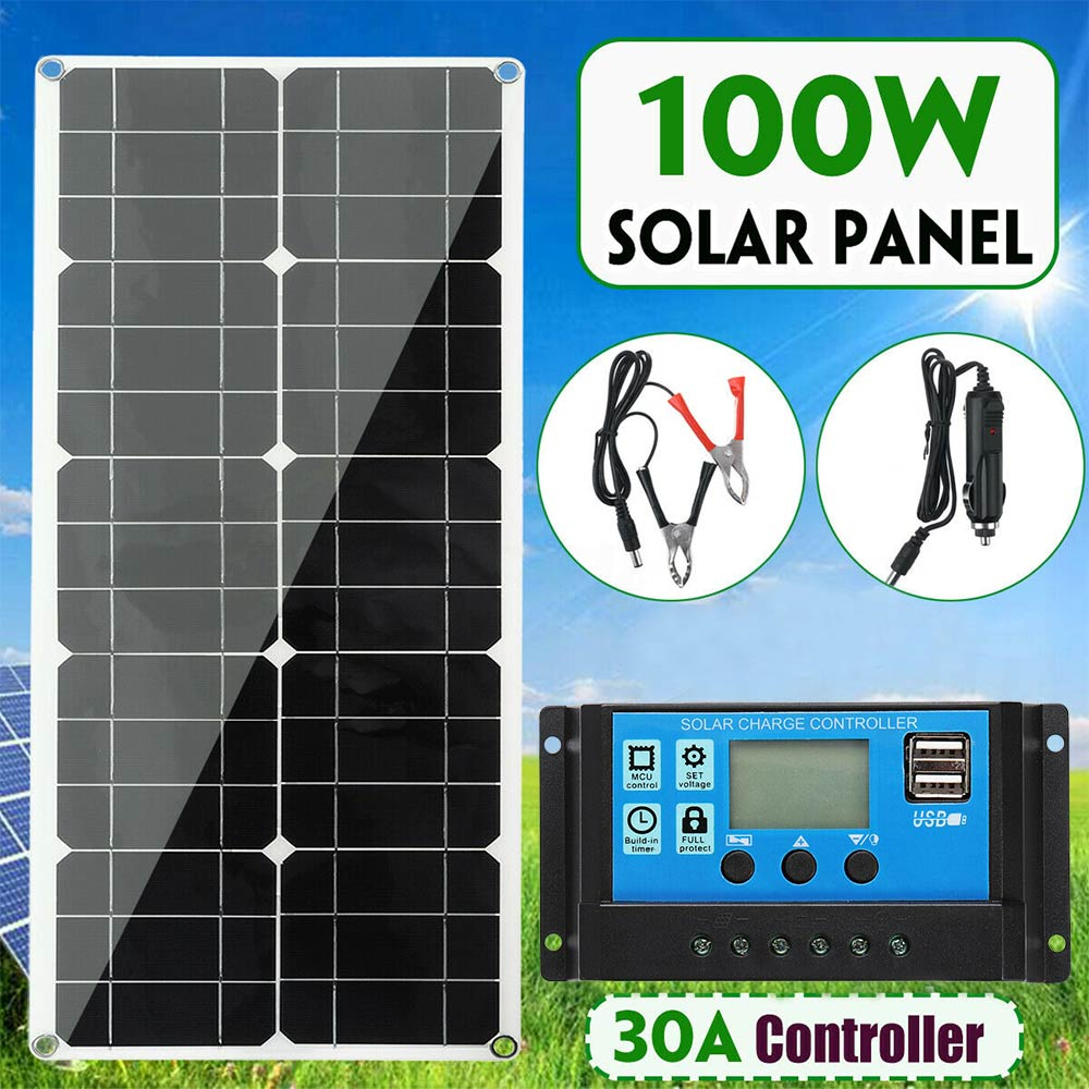 100W Solar Panel Kit Battery Charge + 30A Controller Caravan Boat Home Charger