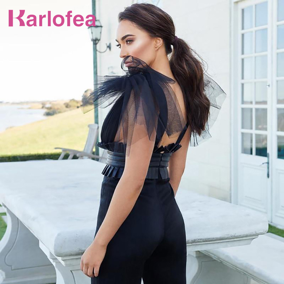 Karlofea Elegant Jumpsuit Pants Outfits Sexy Transparent Mesh PU Leather Patchwork Rompers Women V Neck Vacation Plus Size Wear