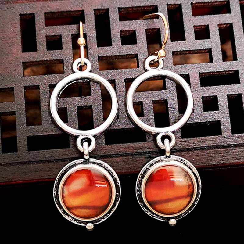 New Fashion Silver Color Antique Inlaid Field Jade Jasper Red Lady Agate Lady Earrings Earrings Wholesale