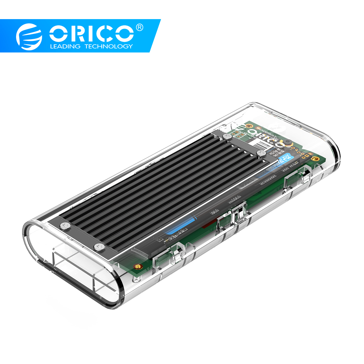 ORICO Transparent Thunderbolt 3 SSD Case 40Gbps M.2 NVME SSD Enclosure 2TB  USB C With 40Gbps C To C Cable For Mac Windows