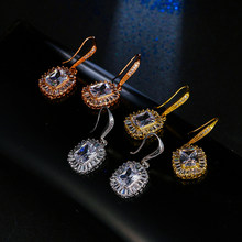 Luxury Female Silver Rose Gold Zircon Earrings Elegant Ladies Square Drop Earrings Unique Style Wedding Earrings For Women(China)