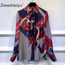 Ziwwshaoyu 100% Silk Vintage Chain Printed Blouse Women Long Sleeve Bow Collar Elegant Office Lady Ladies Tops Shirts