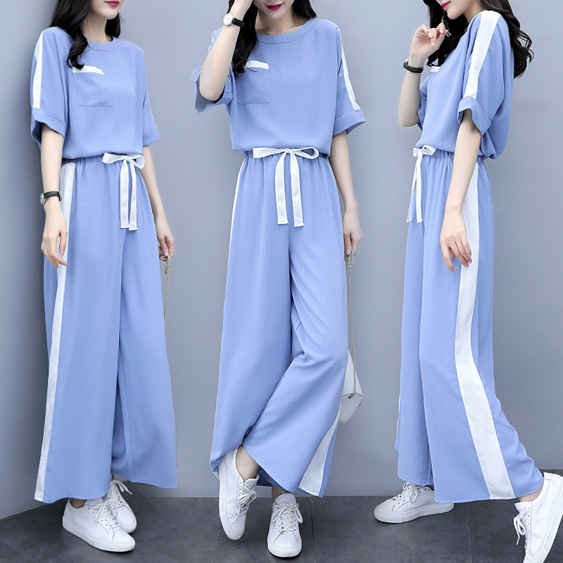 2020 Online Celebrity Spring And Summer WOMEN'S Dress-Style Loose Pants Two-Piece Set Loose Slimming Casual Sports Western Style