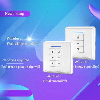 Smart home electric curtain remote control curtain smart curtain electric shutter remote control wireless wall sticker switch control 380v wireless remote control switch two road three phase electric machinery water pump shed wireless controller switch