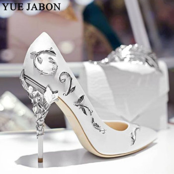 Luxury Women Shoes White pointe shoes Flower Heel Wedding Shoes Women Elegant Silk Brand Design heel shoes Ladies high heels