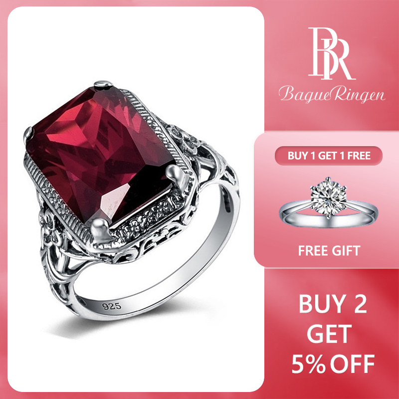 Bague Ringen Rectangle Vintage Red Ruby Rings For Women New Fashion Gemstone Silver 925 Jewlery Ring Wholesale Party Gifts
