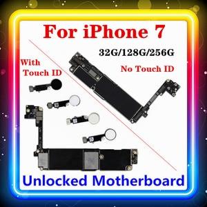 Image 1 - Para iphone 7 placa mãe sem/com toque id, para iphone7 móvel mainboard 4g suporte 32gb/128gb /256gb