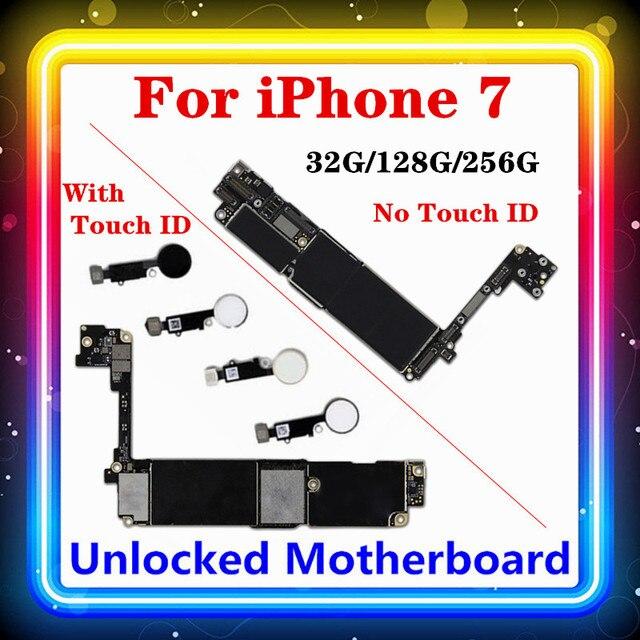 Para iphone 7 placa mãe sem/com toque id, para iphone7 móvel mainboard 4g suporte 32gb/128gb /256gb