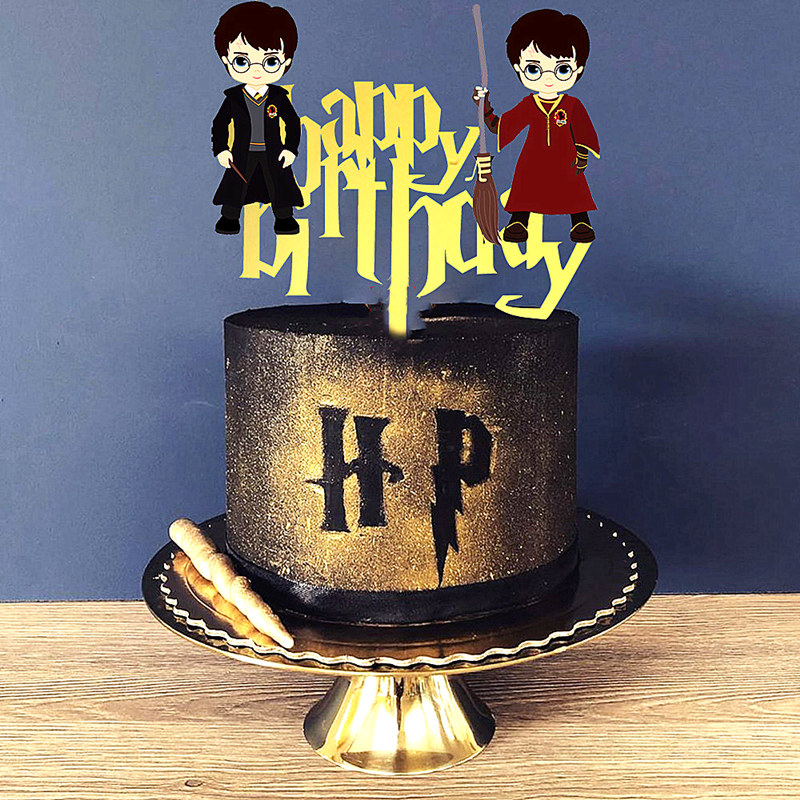 NEW Magic boy happy <font><b>birthday</b></font> cupcake topper golden acrylic <font><b>birthday</b></font> party cake toppers <font><b>decoration</b></font> Kids party dessert cake gifts image