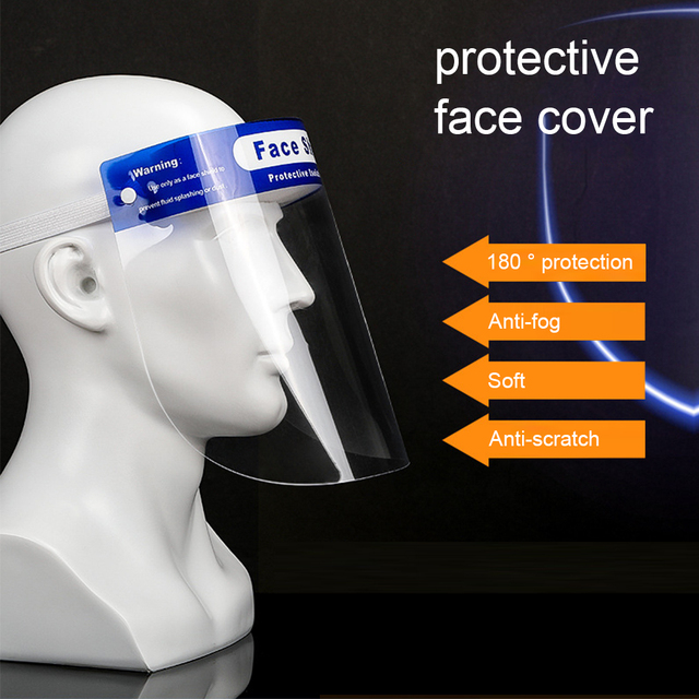 Reusable Protective Face Shield Head-mounted Full Face Shield Anti Droplets Saliva Splash-proof Covering Facial Shield Safety 5