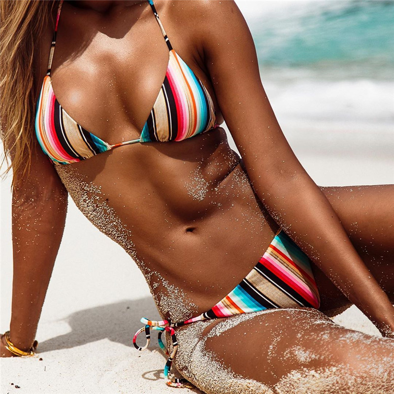 Sexy Bikinis Women Swimsuit Push Up Swimwear Low Waist Bikini Set Striped Print Biquinis Bathing Suit Swimming Beach Wear Female