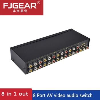 цена на AV Switch Box 8 in 1 AV Audio Video Switch Signal Verbund für HDTV LCD DVD 3 RCA Switcher