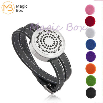 30mm Round Twist Locket Leather brand name bracelet Stainless steel Essential Oil Diffuser locket  bracelet  with pads