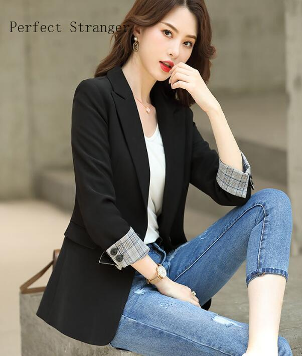 2020 Spring Autumn New Arrival High Quality Korean Turn-down Collar Long Sleeve Solid Color Women Suit Coat