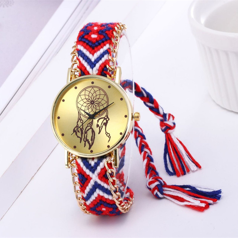 Women Ethnic Handmade Braided Dreamcatcher Wristwatch Gifts Women Casual Vintage Multilayer Bracelet Ladies Wrist Watch Vintage