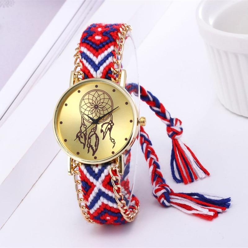 Women Ethnic Handmade Braided Dreamcatcher Wristwatch Gifts Women Casual Vintage Multilayer Bracelet Ladies Wrist Watch Vintage