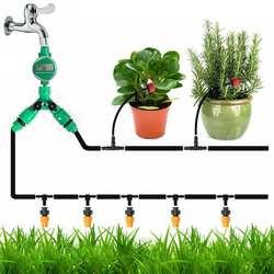 40m kit de irrigação por gotejamento água conjunto automático micro gotejamento jardim spray sistema irrigação kits rega auto com dripper ajustável