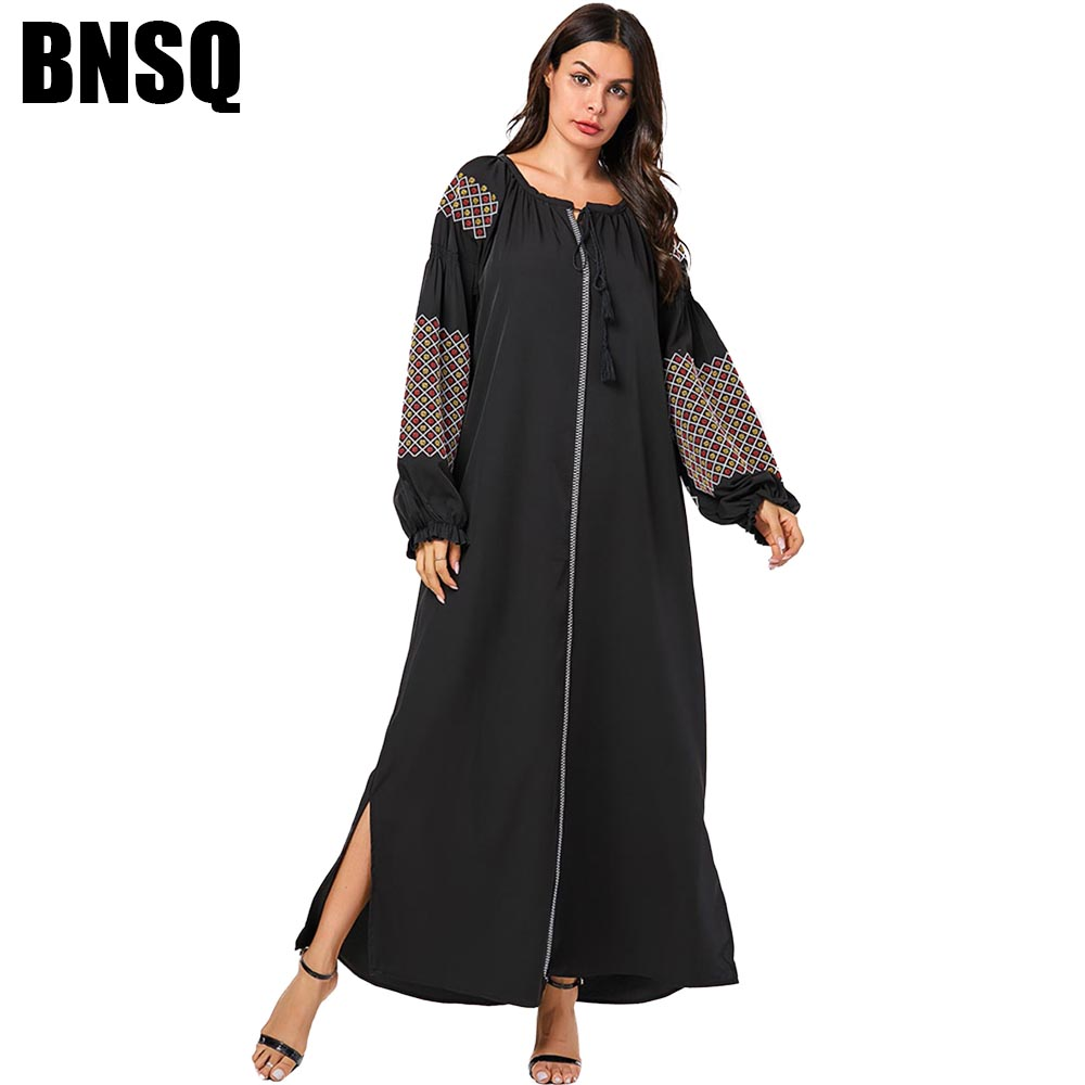 BNSQ Large Size Costume Maxi Dress Loose Embroidered  Long Sleeve Fashion Muslim Black  Abaya Robe Turkey Castual Homecoming