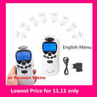 English Or Russian Dual Channel 2 in 8 Tens Unit Electronic Therapy Body Neck Massager Pulse Meridian Machine Muscle Stimulator