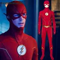 Disfraz de Cosplay de The Flash 6 para adultos, disfraz de Halloween, superhéroe, mono rojo mono elegante, hecho a medida
