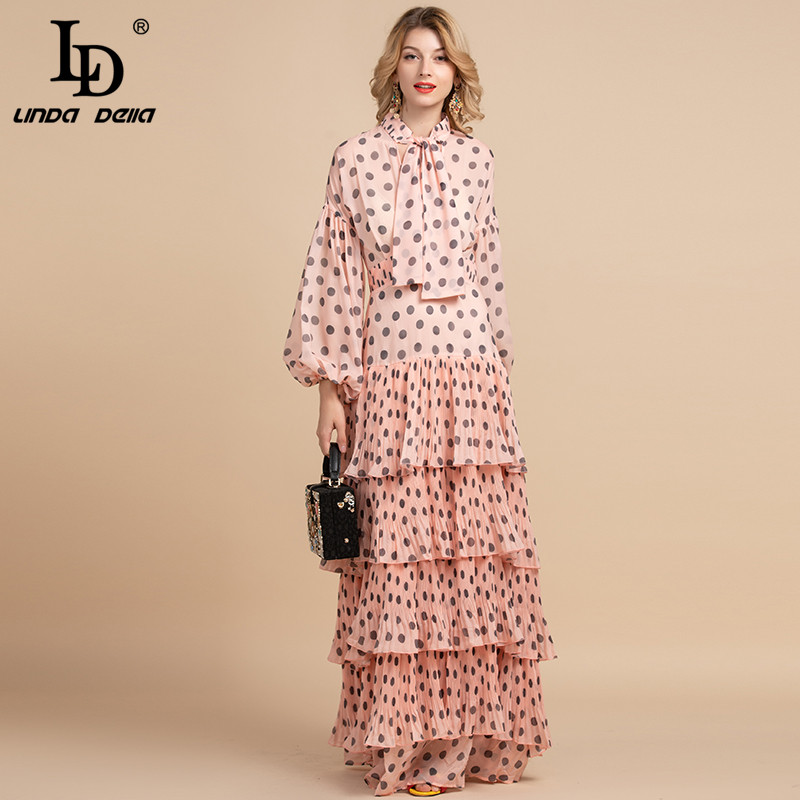 LD LINDA DELLA 2020 Spring Fashion Designer Maxi Long Dress Women's Bow Halter Tiered Polka Dot Print Elegant Party Dress Gown