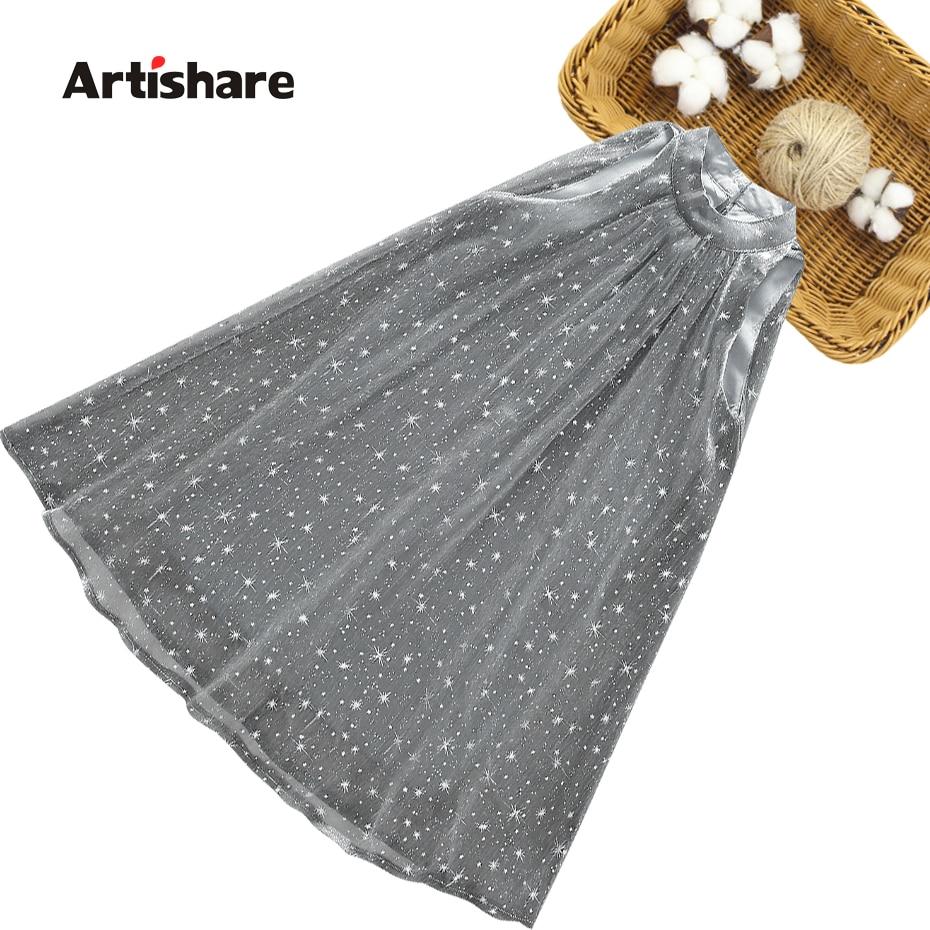 Vestidos infantiles para niñas, vestidos con estampado de estrellas para niña, vestido de princesa de malla para niños, ropa informal para niños 6 8 10 12 1