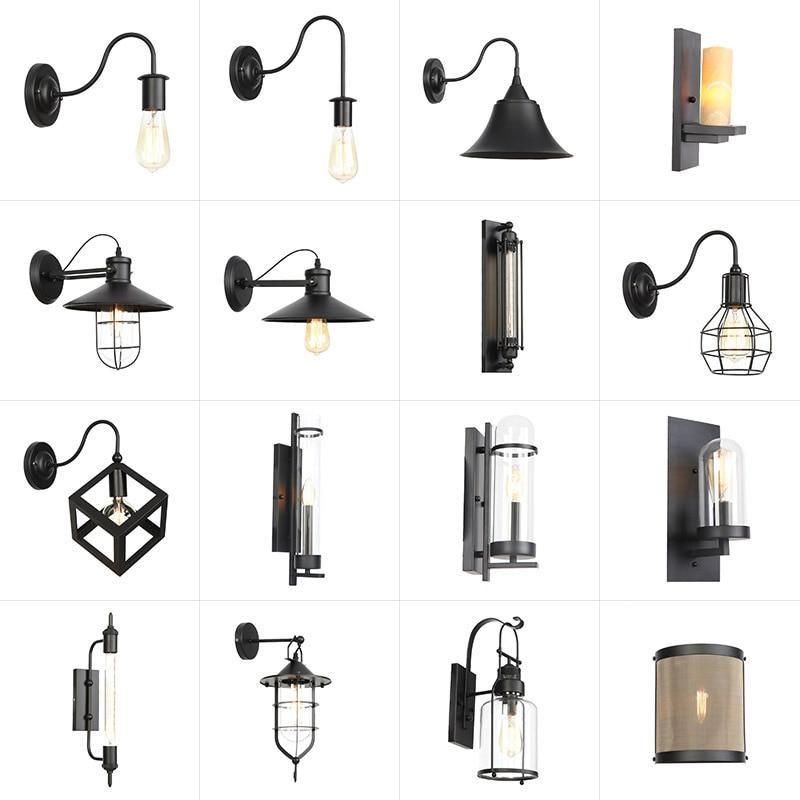 Indoor Outdoor Vintage Waterproof Ac110v-240v E27 Led Bulb Black Metal Body Retro Light Foyer Passageway Loft Wall Lamp