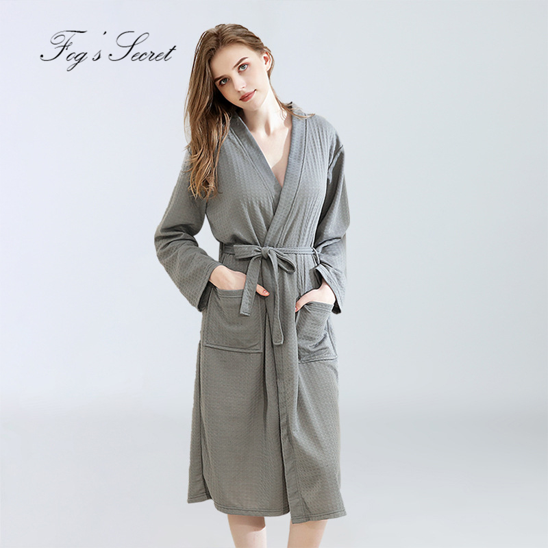 Women Bathrobe Autumn Winter Waffle Thin Yukata Absorbent Quick-drying Pajamas Homewear Nightgown Roupao Feminino