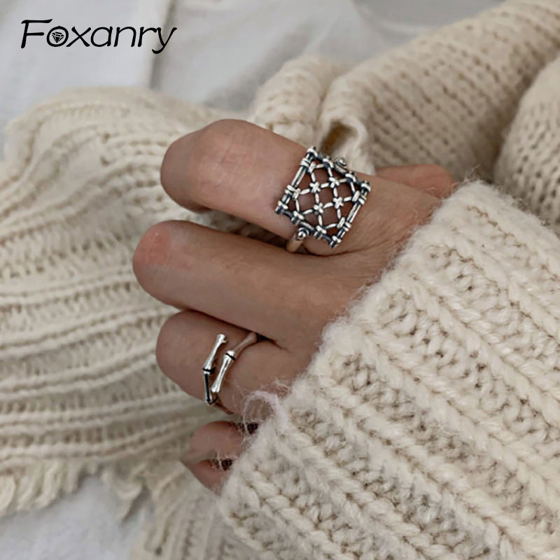 Foxanry Ins Fashion 925 Sterling Silver Creative Square Grid Rings For Women Couples Vintage Punk-Style Party Jewelry Gifts
