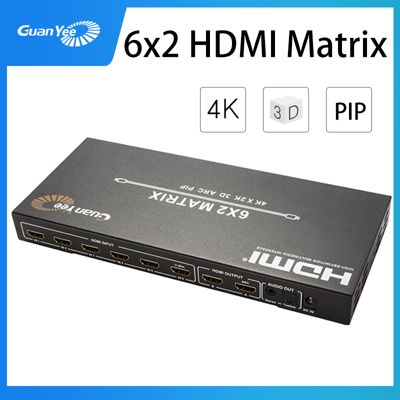 HDMI Matrix 6x2 Switch Splitter 6 in 2 out <font><b>Optical</b></font> SPDIF + <font><b>3.5mm</b></font> <font><b>jack</b></font> <font><b>Audio</b></font> Extractor HDMI Switcher image