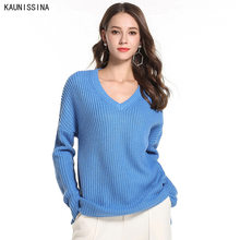Women V Neck Knitted Sweater Autumn Winter Casual Jumper Sweaters Female Knit Pullover Female Plus Size Loose Knitwear 2XL Size(China)
