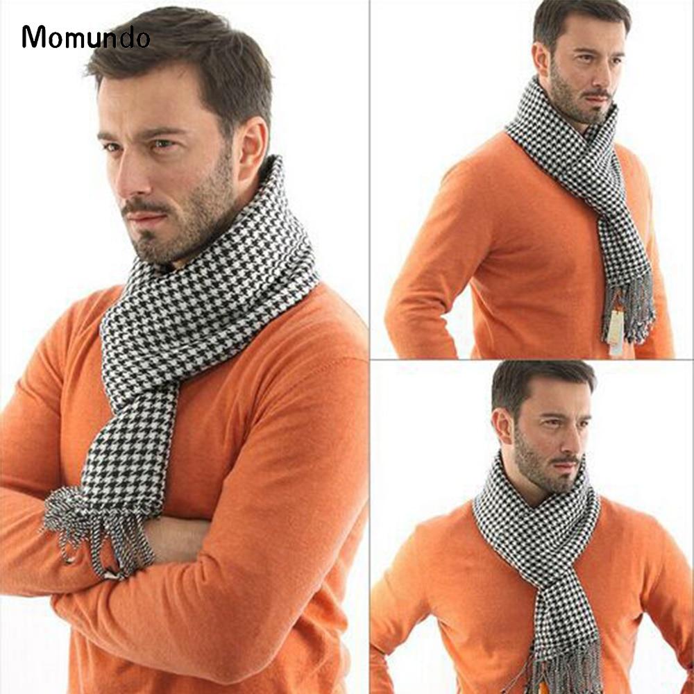 2019 Winter Cashmere Men Scarf Plaid Design Solid Color England Classcial Style Soft Feeling Long Scarves