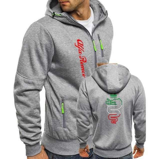 Alfa Romeo Hoodies Mannen Mode Hoodies Merk Persoonlijkheid Rits Sweatshirt Mannelijke Hoody Trainingspak Herfst Winter Stiksels Hoodie P