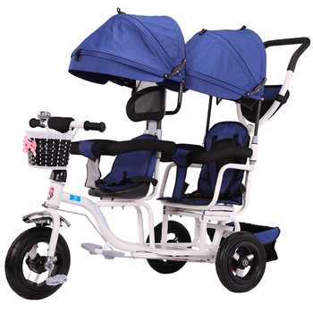 Baby Twin Tricycle Stroller 3 Wheels Double Stroller for Kids Twins Guardrail Seat Baby Toddler Bicycle Car Tricycle Child Pram twins baby stroller sitting and lying portable baby carriage folding second child artifact double seat twin stroller for newborn