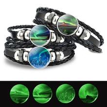 Bracelet Astronomy Gifts Braided Black Lover Luminous-Button Glow-In-The-Dark Men
