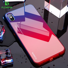 Floveme Gradient Tempered Glass Case For iPhone XR XS MAX X 11 Pro Luxury Cases 7 8 6s 6 plus SE 5S Phone Cover