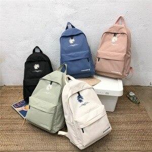 Image 3 - 2020 Solid backpack girl school bags for teenage College wind Women SchoolBag High student bag black nylon printing