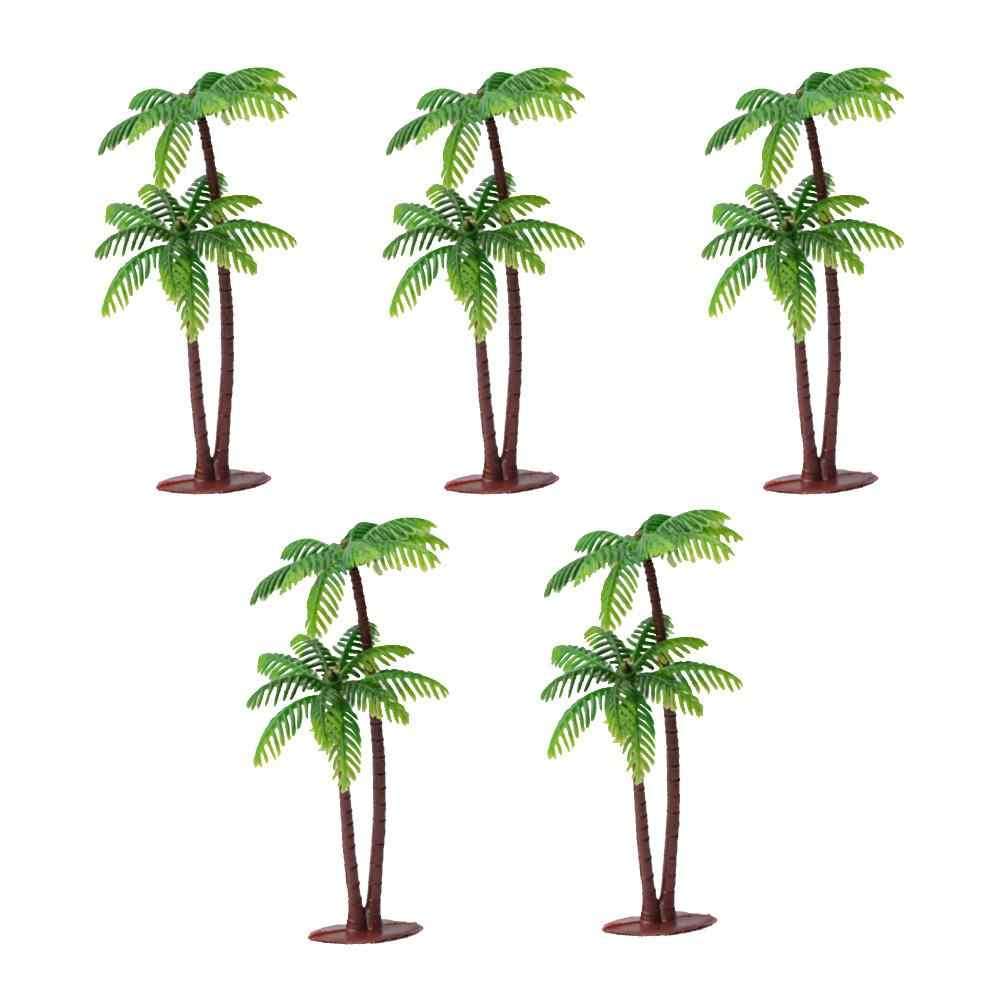 5Pcs Mini Coconut Palm Tree Model Plant Diy Landschap Bonsai Poppenhuis Decor