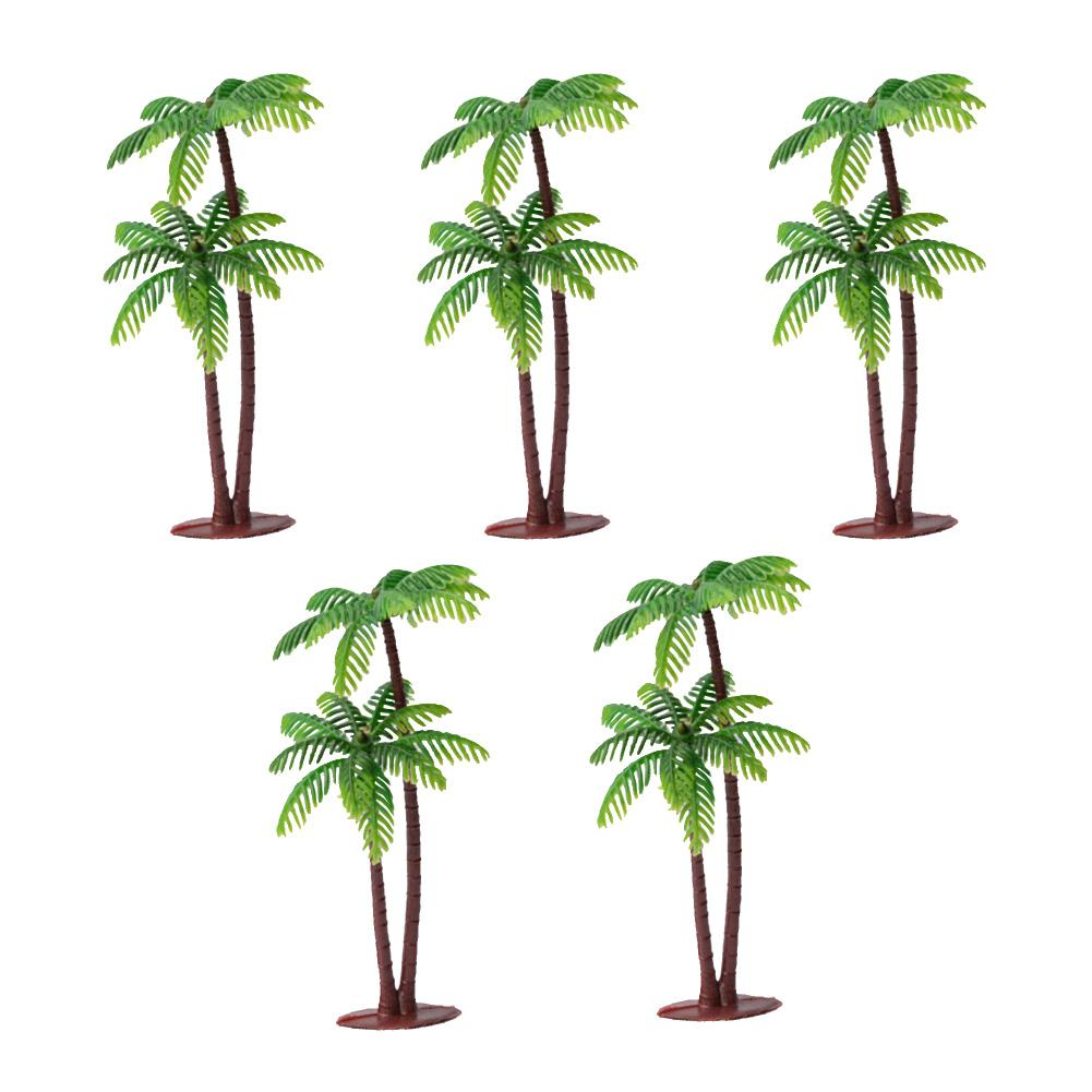 5Pcs Mini Coconut Palm Tree Model Plant DIY Landscape Bonsai Dollhouse Decor