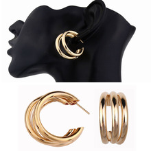 Metal Elegant small Hoop Earring Woman 2019 New Vintage Gold Color Cheap korean Statement Earrings for women Accessories brincos